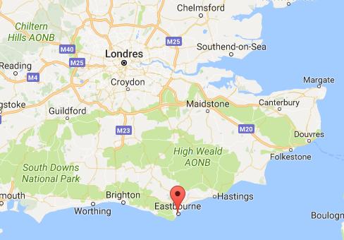 De nombreux Anglais sont venus profiter des plages d'Eastbourne pendant ce week-end à 3 jours - DR : Goole Maps