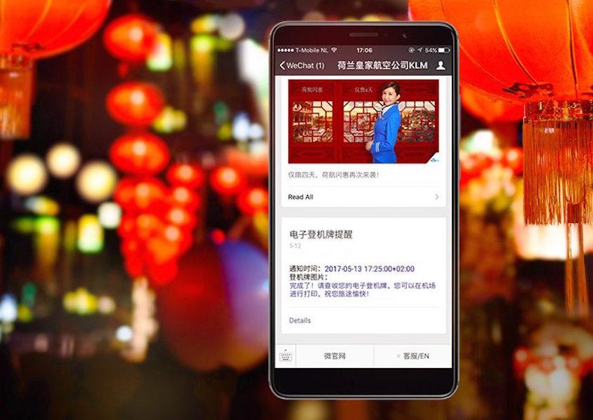 KLM annonce être la première compagnie aérienne en dehors de la Chine à accepter les paiements pour ses billets d'avion via WeChat Pay. (c) KLM