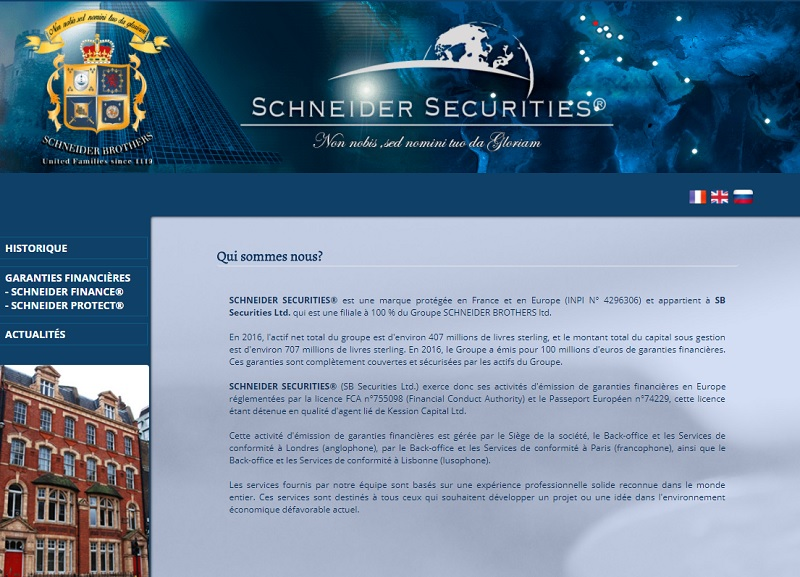 Depuis le 3 août 2017, Schneider Securities - SB Securities Ltd n'est plus autorisée à exercer en tant que garant financier en France - DR : Capture d'écran Schneider-securities.com