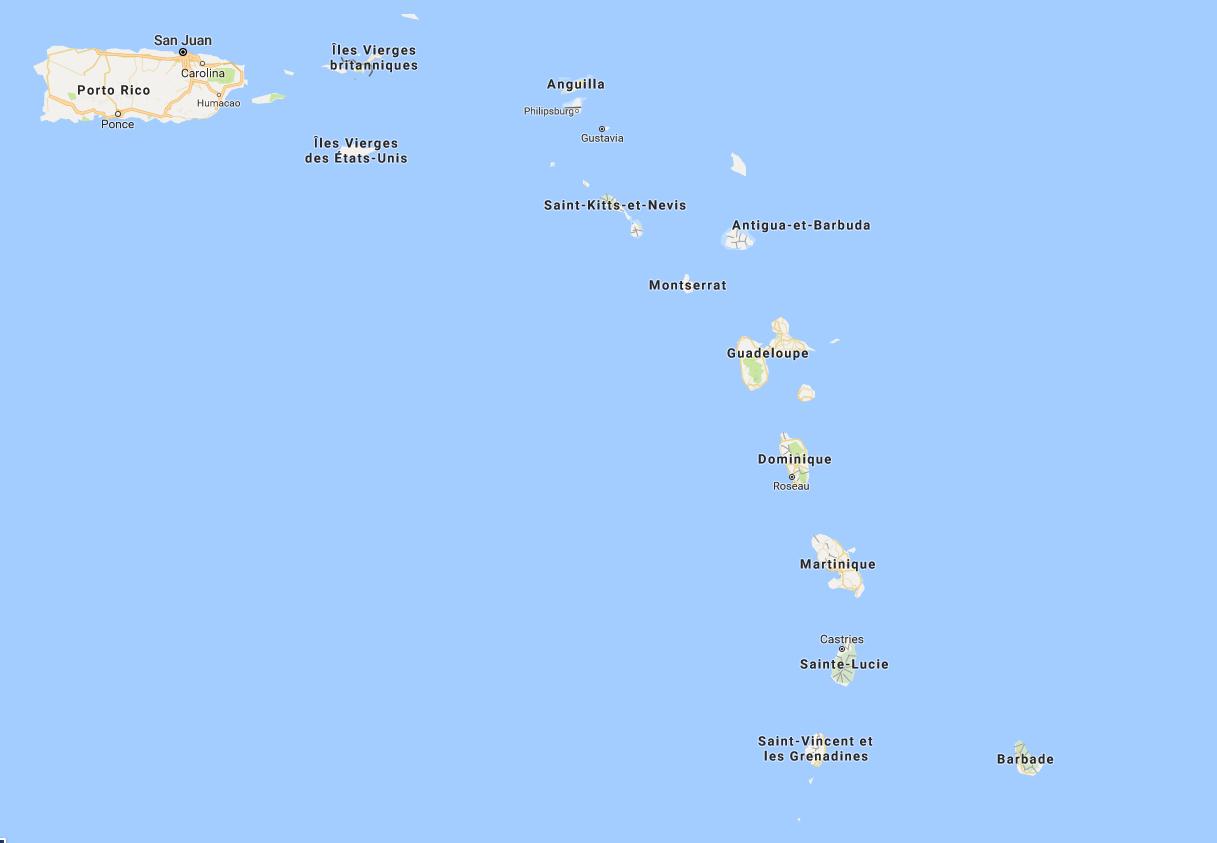 La vigilance cyclonique niveau orange a été déclenché ce lundi matin pour les Iles du Nord et lundi midi pour à la Guadeloupe. - Google Map DR