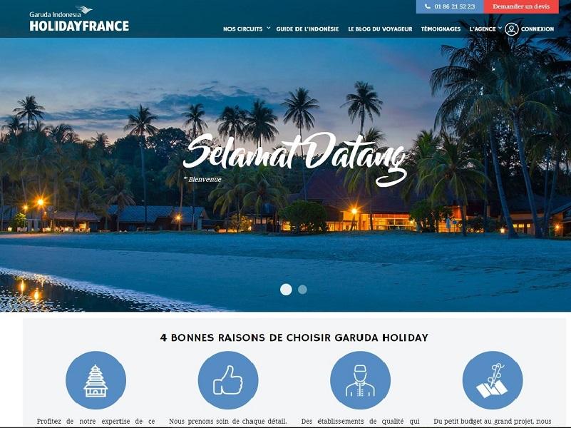 capture d'écran de la page d'accueil du site garudaholiday.fr