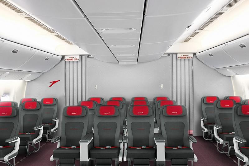 La cabine Premium Economy Class sera séparée visuellement des classes Business et Economy, et constituera un espace à part entière, avec 18 à 24 sièges, selon le type d'appareil - DR : Austrian Airlines