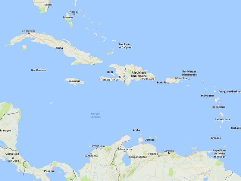 Après avoir touché les îles du Sud-Est des Caraïbes, l'ouragan Irma se dirige vers le Nord-Ouest et la Floride - DR : Google Maps