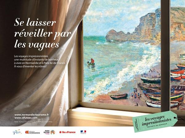 Visuel d'une des deux publicités affichées dans la gare Saint-Lazare. Crédit photo : CRT Normandie