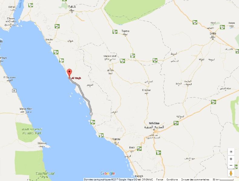 200 km de côte au nord-ouest de l'Arabie Saoudite, entre les villes d'Al Wajh et Umluj