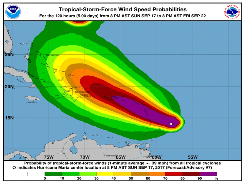 Le passage de l'ouragan Maria, selon le NHC - Crédit photo : nhc.noaa.gov