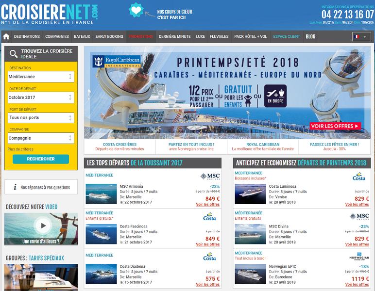 Croisierenet.com est l'un des portails-phares du groupe QCNS Cruise - Capture d'écran