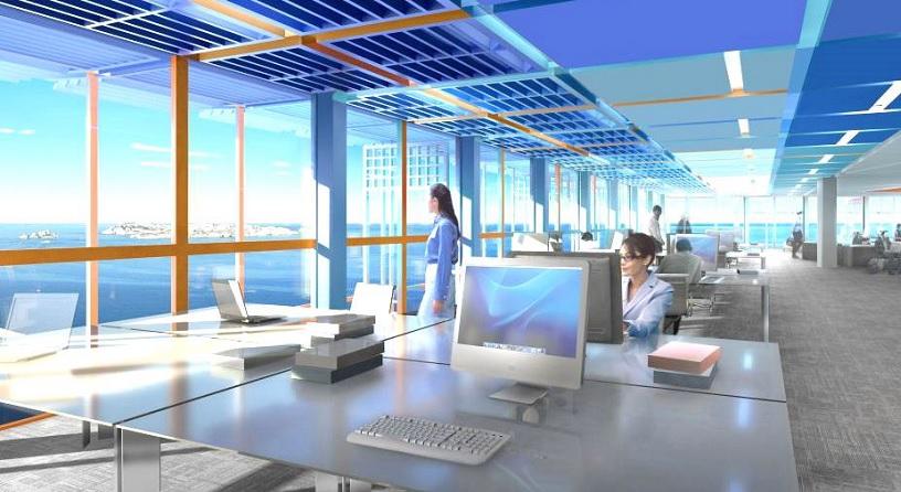 Image de synthèse d'un bureau, de la tour La Marseillaise, donnant sur les Îles du Frioul - Crédit photo : Constructa / Ateliers Jean Nouvel