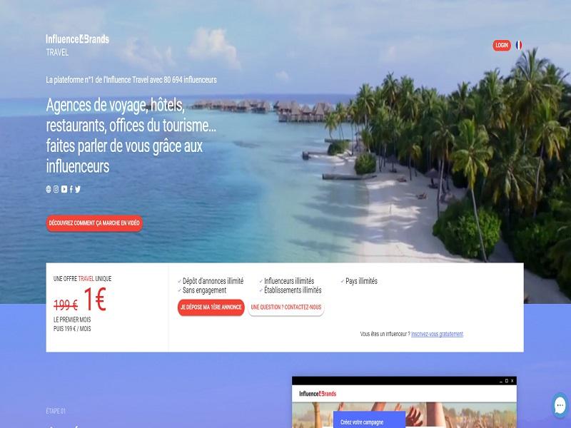 Plateforme web de l'offre Travel Crédit : Influence4Brands