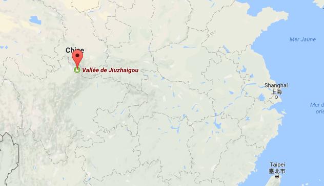 Le site touristique de la vallée de Jiuzhaigou est situé dans la province du Sichuan, en Chine - DR : Google Maps