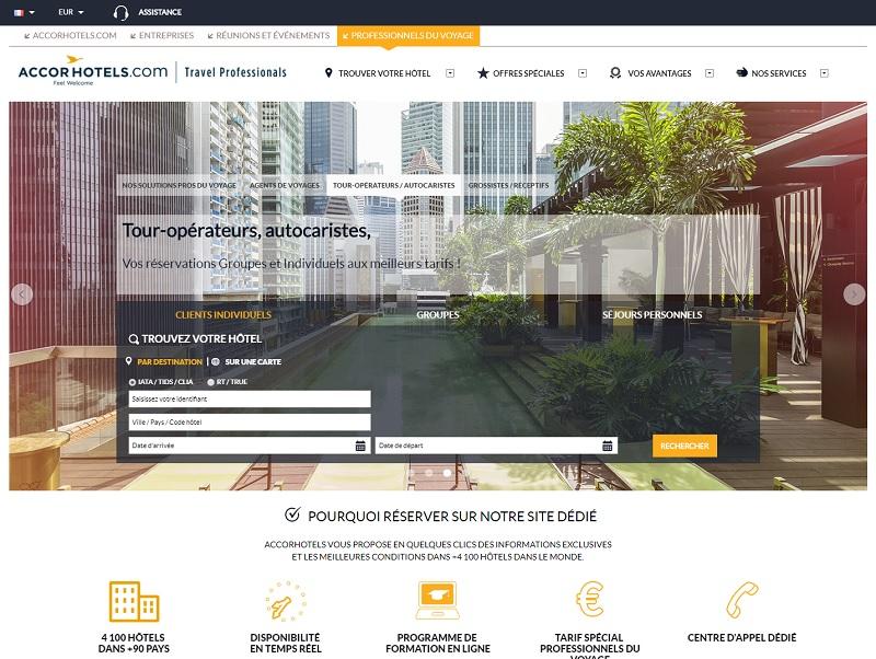 TravelPros permet de poser des options en ligne, directement dans le système de l'hôtel, pour des groupes à partir de 8 personnes et jusqu'à 12 mois à l'avance - Crédit : Plateforme TravelPros AccorHotels