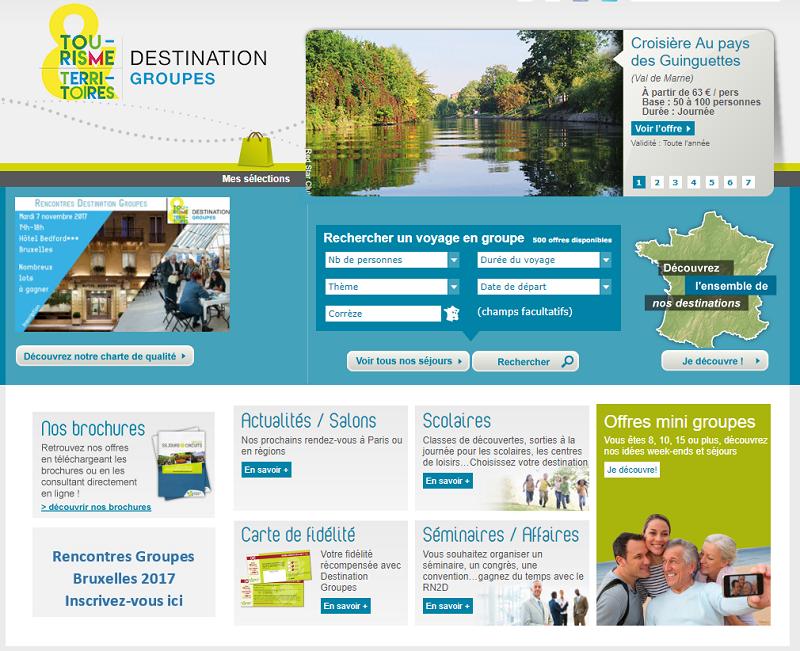 Destination Groupes réunit 43 Agences Départementales de Réservation adhérentes à Tourisme & Territoires. Il vient d'éditer sa nouvelle brochure 2018-2019 - Capture écran DR