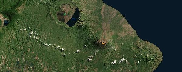 Le Mont Agung an (symbolisé par le volcan orange) est situé à 75 km de l'aéroport international de Denpasar - Capture écran : du site MAGMA Indonesia
