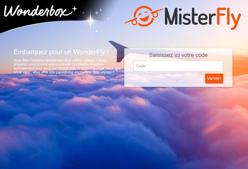Le site de réservation Wonderbox - Misterfly - DR