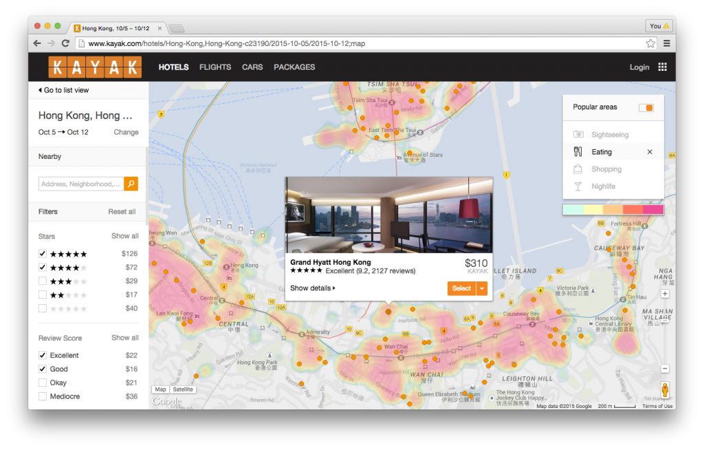 La technologie TopPlace™ d'AVUXI affiche les quartiers les plus populaires d'une ville au moyen de heat maps (cartes thermiques)  - DR Photo
