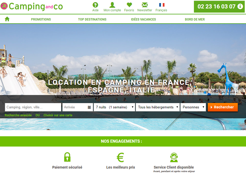 Le site internet de camping-and-co.com - DR Capture écran