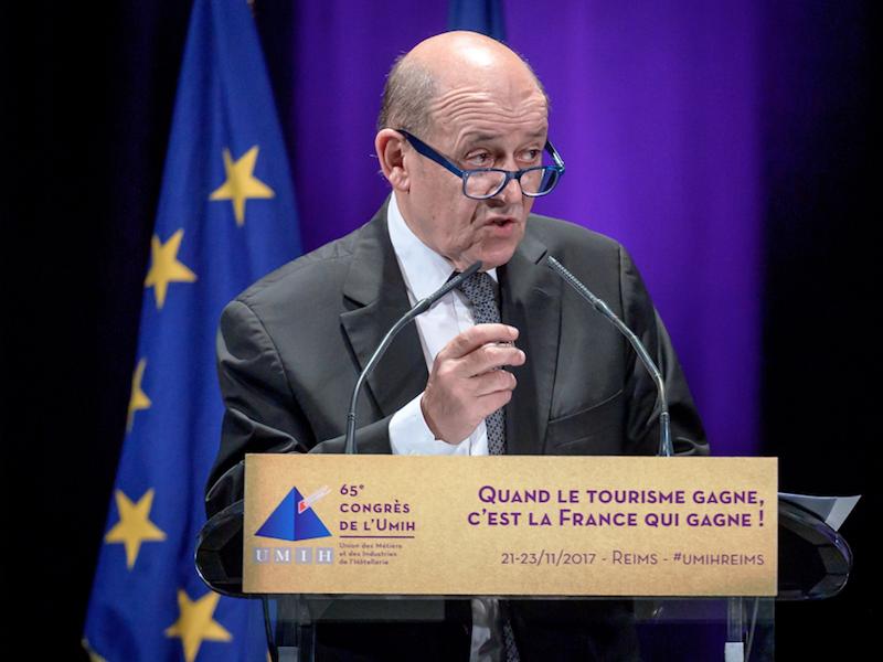 Jean-Yves Le Drian, ministre en charge de l'Europe et des Affaires étrangères, à l'ouverture du congrès de l'UMIH, mardi 21 novembre à Reims © UMIH