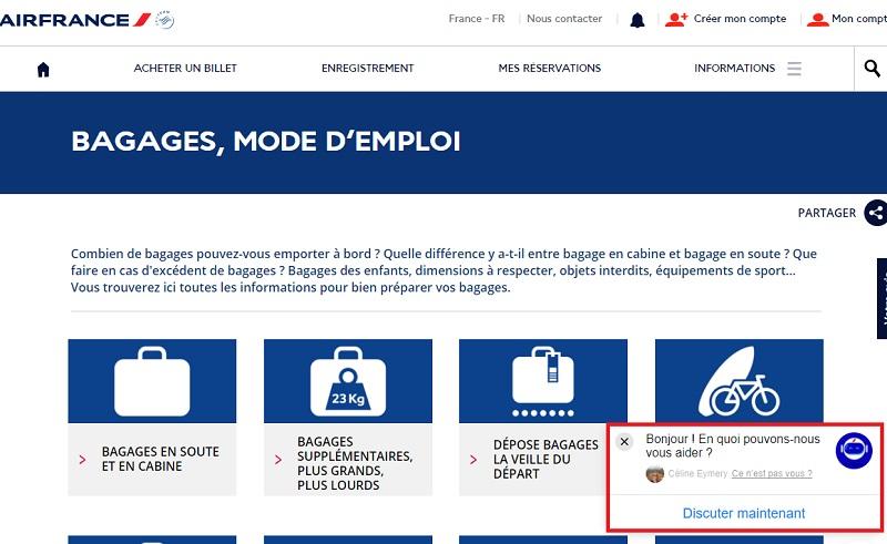 Louis est accessible b[24h/24 sur l'application Facebook Messenger]b directement via la page FAQ bagage de son site - Capture écran Air France