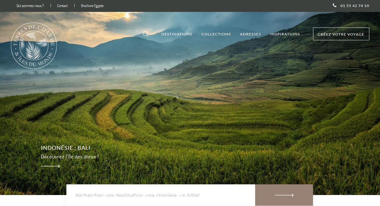 Capture d'écran du nouveau site de Terres de Charme