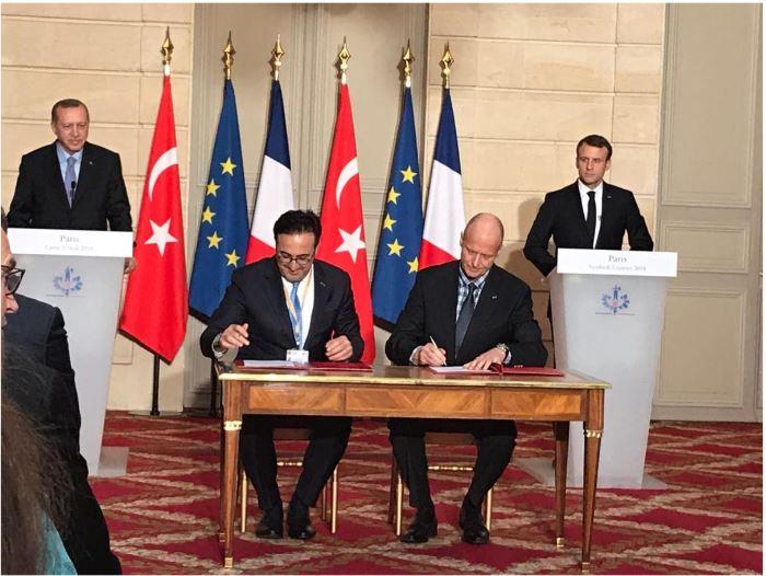 les représentants de Turkish Airlines et Airbus signent, à l'Elysée, un accord en présence des président Erdogan et Macron. DR turkish airlines