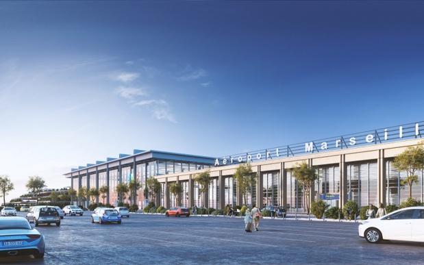 La nouvelle aérogare accueillera un espace commercial de 13 500m², soit un doublement de la surface - Crédit photo : Aéroport de Marseille (AMP)