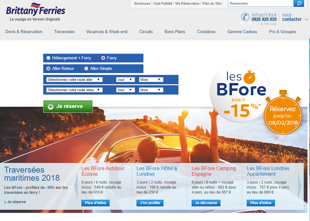 Le site de Brittany Ferries - DR