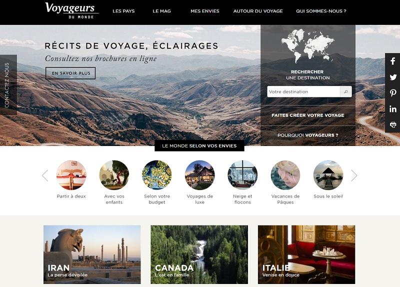 Voyageurs du Monde souhaite personnaliser le parcours de ses internautes, en les incitant à s'identifiant le plus rapidement possible - Capture écran