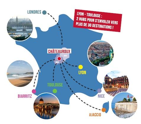 Le réseau de vols passagers au départ de Châteauroux - DR