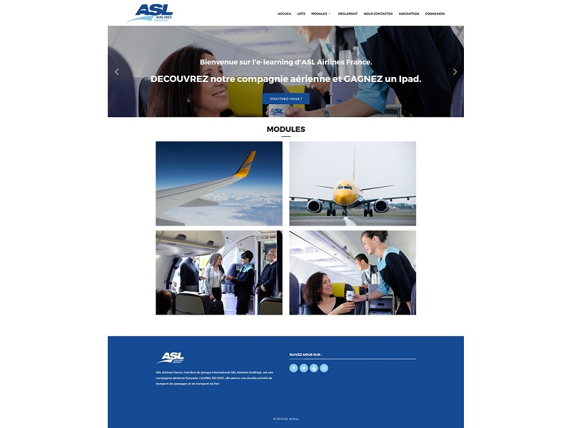 copie d'écran, page de bienvenue sur l'e-learning d'ASL Airlines France