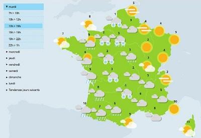 cette après-midi et jusqu'à cette nuit, les pluies neigeuses liées aux températures froides créent des verglas sur la partie ouest de la france - photo meteo france
