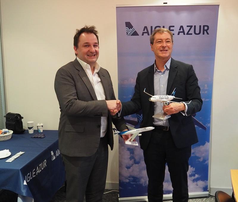 Frantz Yvelin, Président d'Aigle Azur et Pascal de Izaguirre, Président-Directeur Général de Corsair International - DR