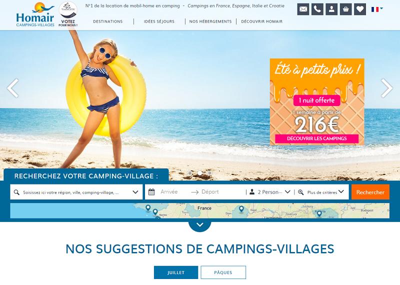 Le site Homair décliné en plusieurs langues enregistre une audience annuelle de 5 millions de visiteurs uniques - Capture écran