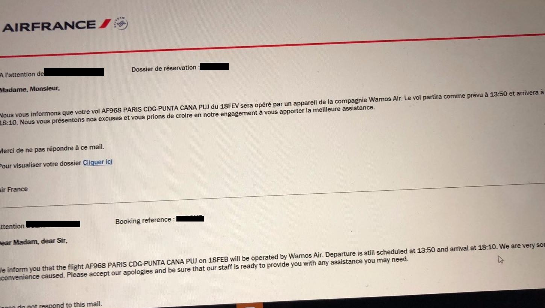 Un des courriers envoyé par Air France à un passager qui partait le 18 février dernier à Punta Cana - DR