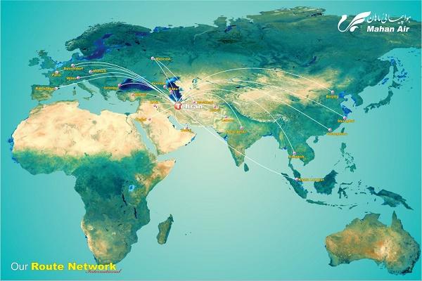 Le réseau de Mahan Air au départ de Téhéran en Iran - DR