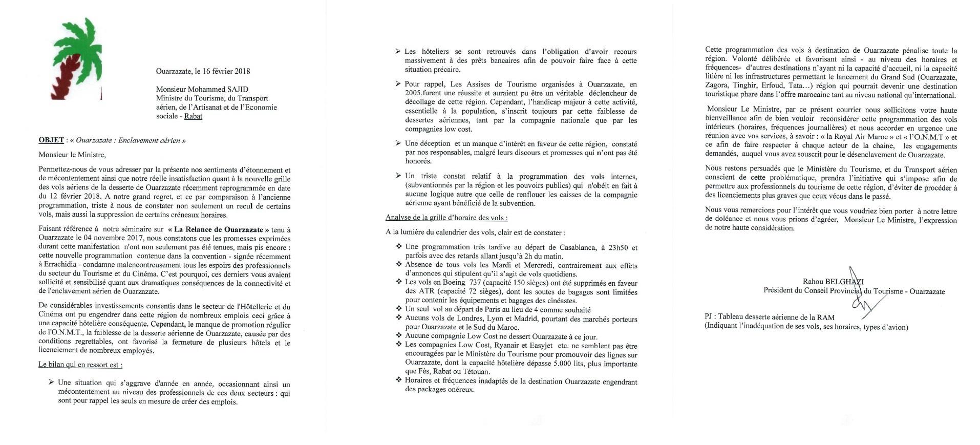 L'intégralité de la lettre - Crédit photo : Conseil Provincial du Tourisme de Ouarzazate