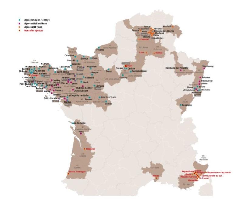 Carte des agences du réseau de distribution Salaün