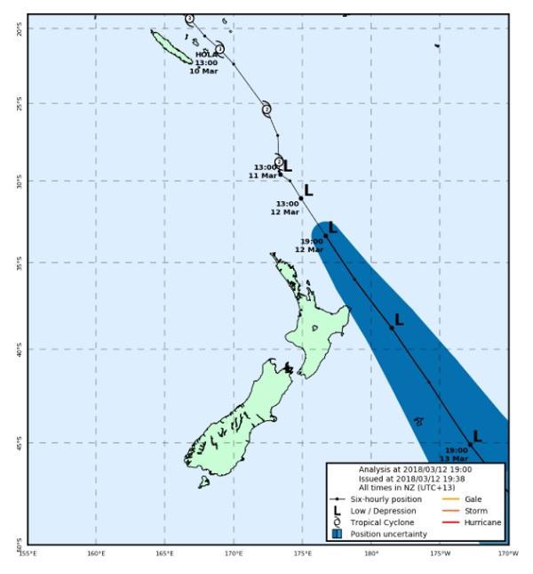 Hola va passer à l'est de la Nouvelle-Zélande - Crédit photo : metservice.com