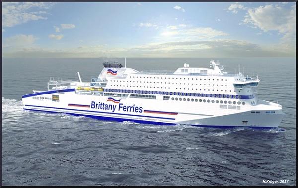Brittany Ferries présente Honfleur son 1er navire propulsé au Gaz Naturel Liquéfié (GNL) - Crédit photo : Brittany Ferries