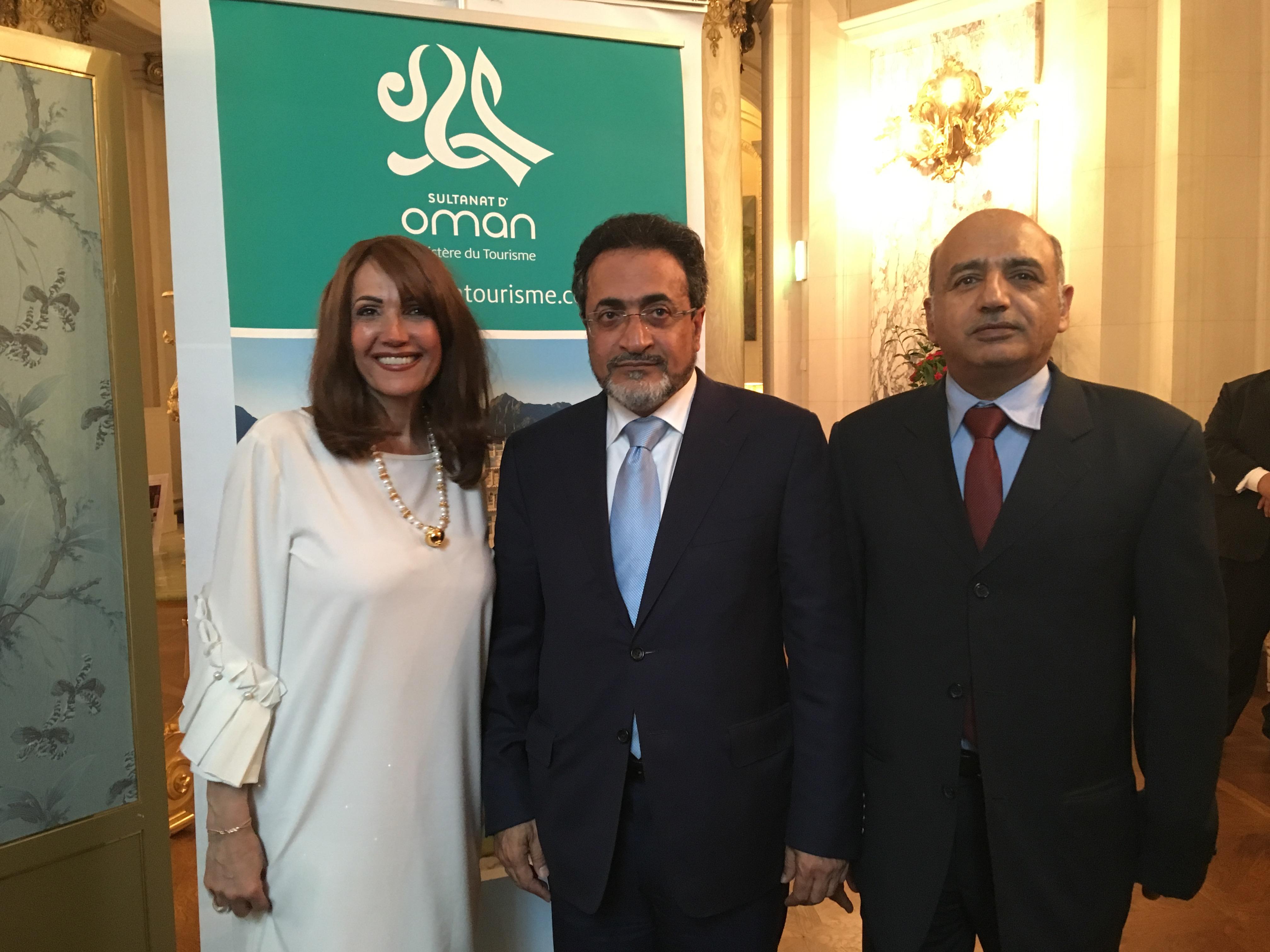 Rania Khodr, directrice de l'OT du Sultanat d'Oman à Paris et Son Excellence, Ahmed Al Mahrizi, ministre du Tourisme du Sultanat d'Oman. - CL