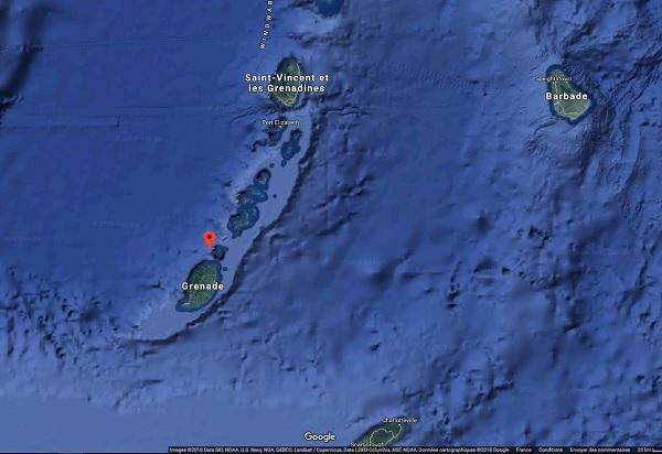 Le volcan Kick'em Jenny impacte la plaisance dans Caraïbe - Crédit photo : Google Maps