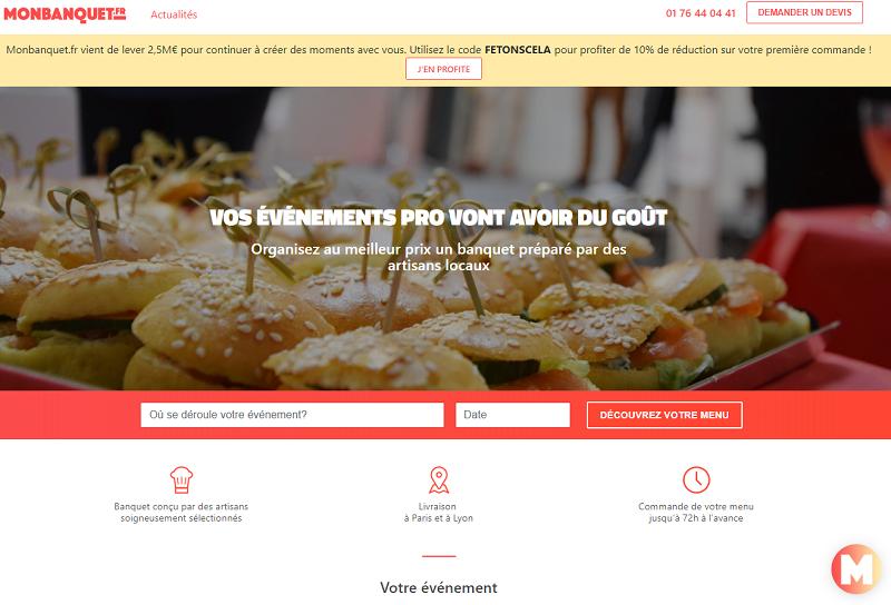 Le site MonBanquet.fr propose un service de traiteur en lien avec des artisans locaux à Paris et Lyon pour l'organisation d'événements professionnels - Dr