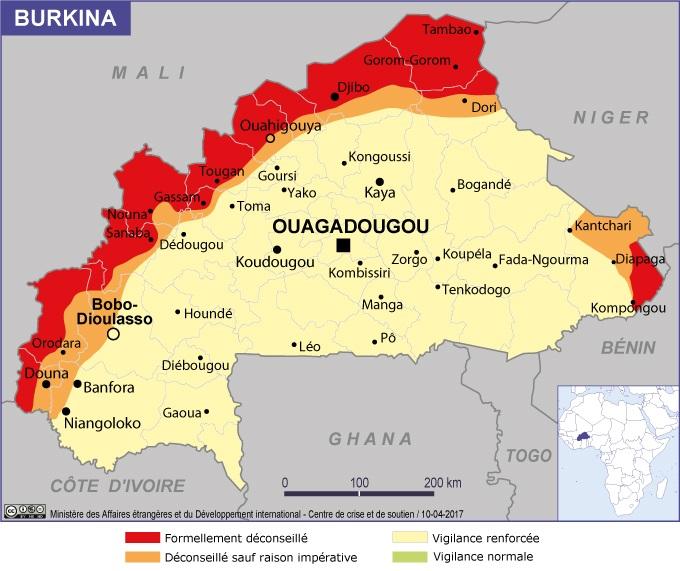 Les zones en rouge sur la carte du Burkina Faso sont strictement déconseillées - Crédit photo : France Diplomatie