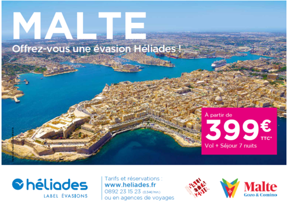 Héliades a lancé une campagne de promotion en partenariat avec l'office de tourisme de Malte - DR