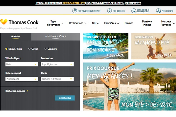 Le site web de Thomas Cook France propose des offres exclusives pour les internautes - Crédit photo : Thomas Cook France