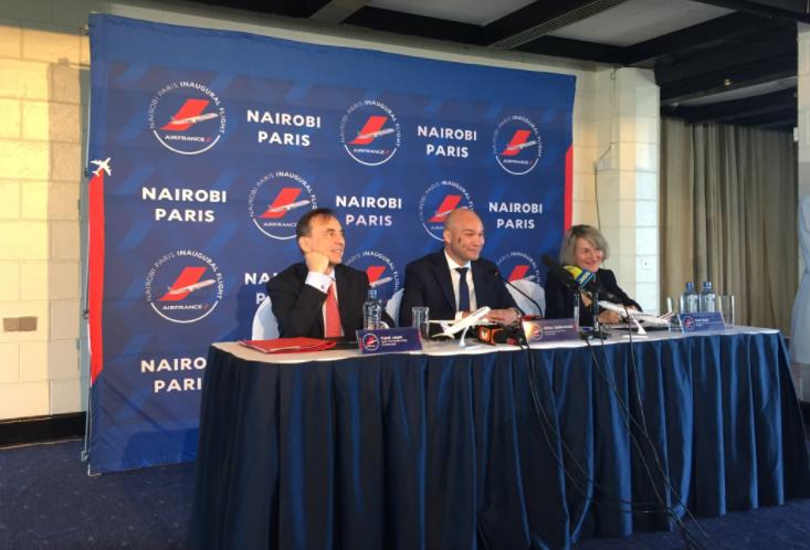 A Nairobi, lors de la conférence de presse inaugurale du vol Air France, lundi 26 mars © PG TM
