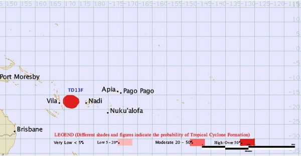 La perturbation se dirige vers la ville de Nadi, sur l'île principale de l'archipel - Crédit photo : www.met.gov.fj