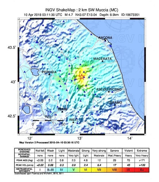 La terre a tremblé dans la province de Macerata - Crédit photo : ingvterremoti.wordpress.com