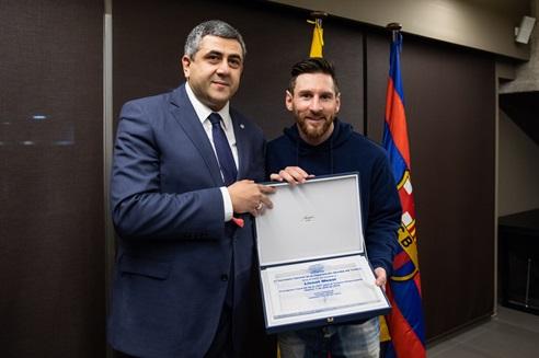 Zurab Pololikashvili et Lionel Messi - DR