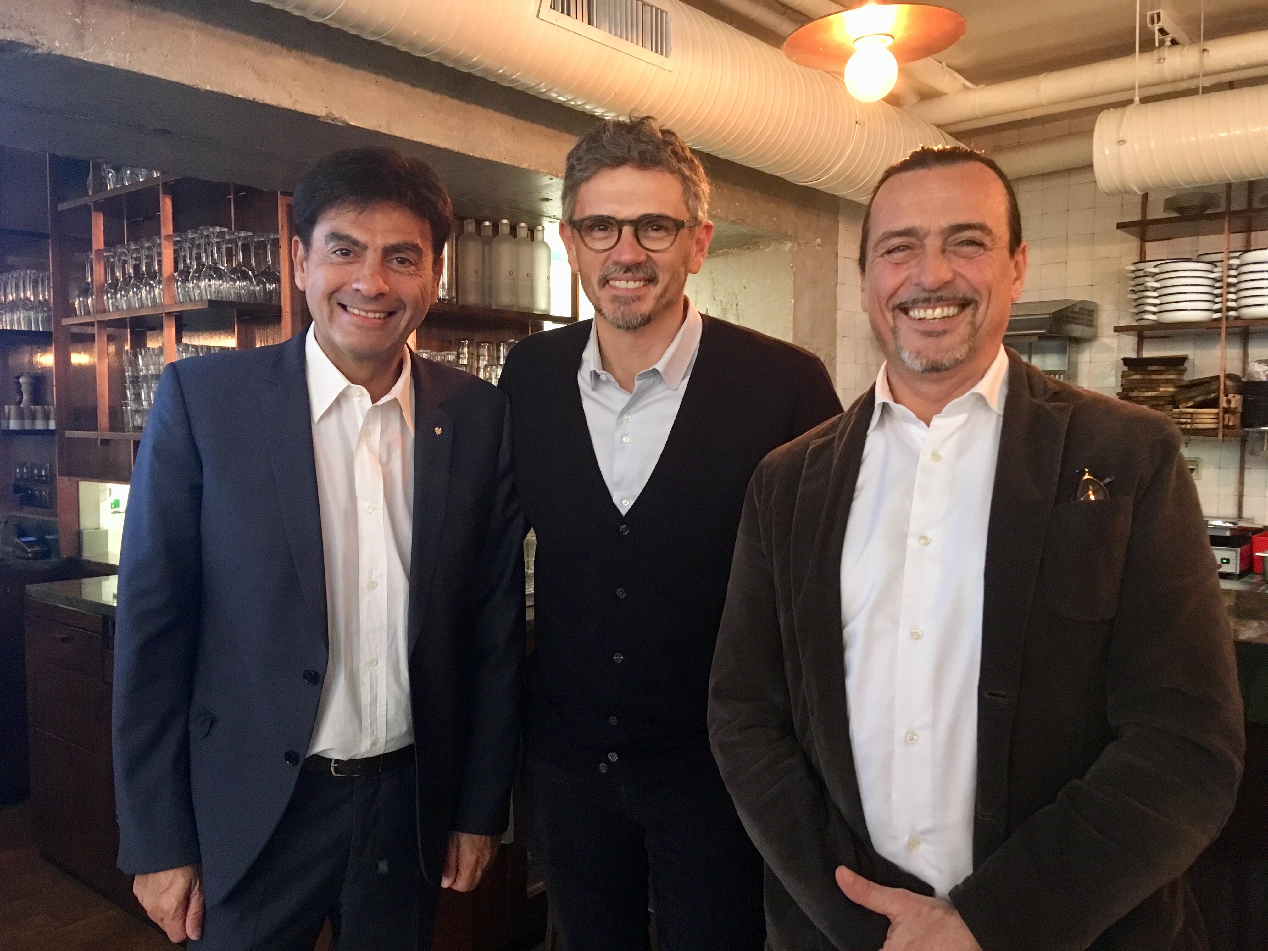 Georges Azouze, président de Costa Croisières France, Christophe Adam, chef pâtissier et Stefano Fontanesi, le Chef Costa Croisières. - CL