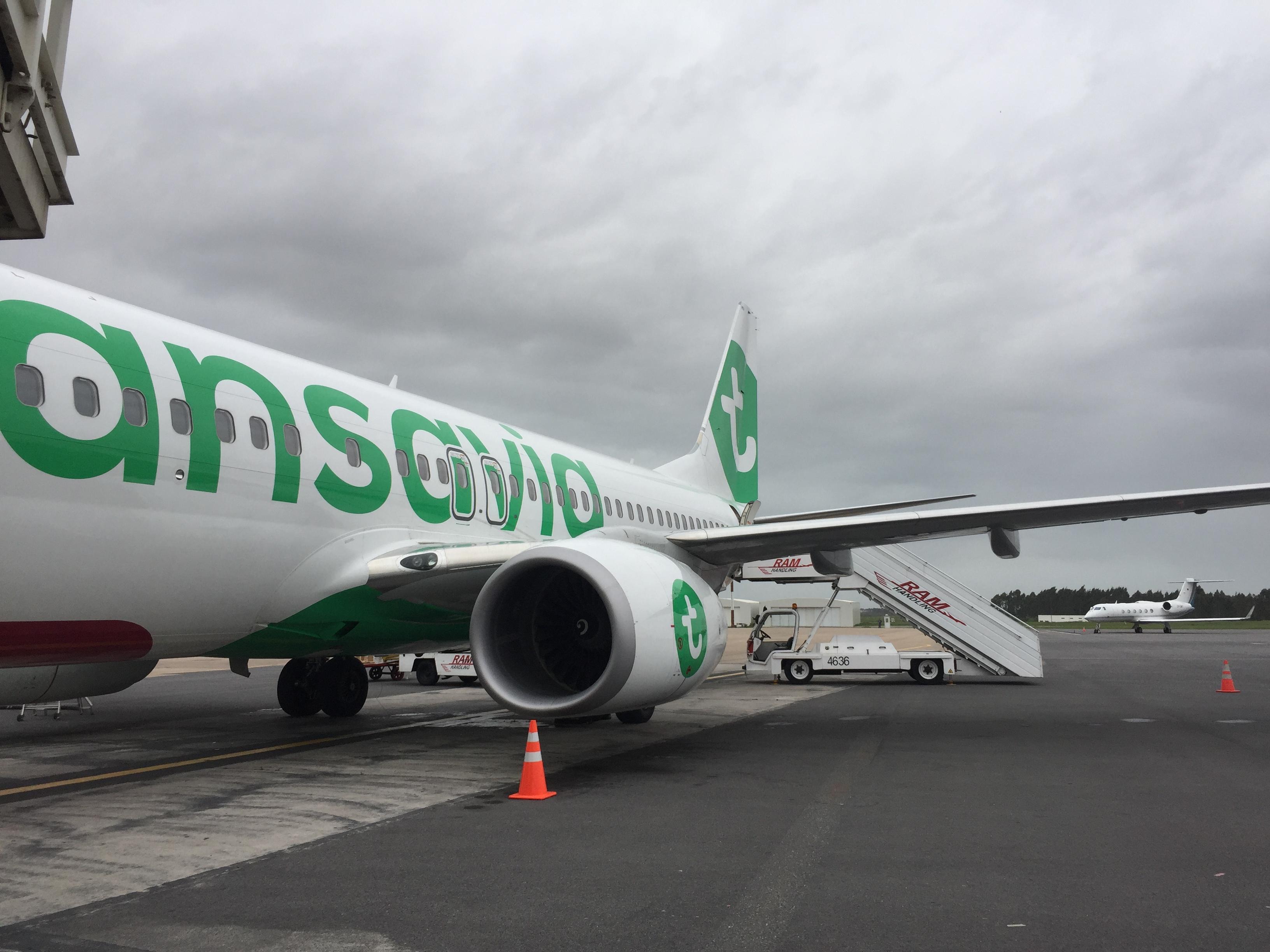 Le Boeing 737 de Transavia, quelque minutes après son atterrissage à Rabat-Salé, jeudi 12 mars © PG TM